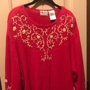 Red Sweater with Gold  Embellishments/Embroidery